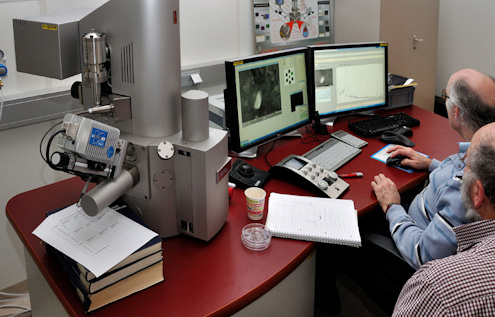 Research by means of a Scanning Electron Microscope  with EDX analysis Photo J.R. Beuker