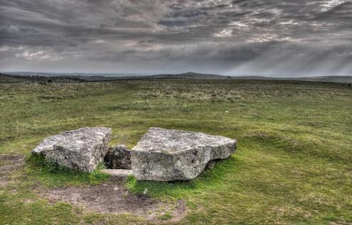 Tombe préhistorique Dartmoor (Merrivale), Angleterre Âge du bronze