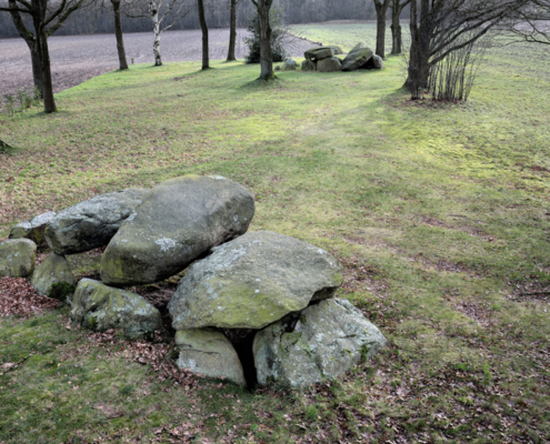 Megalithic graves (hunebedden D28 en D29), Buinen, The Netherlands. Neolithic (3400-2750 BC). Photo J.R. Beuker.