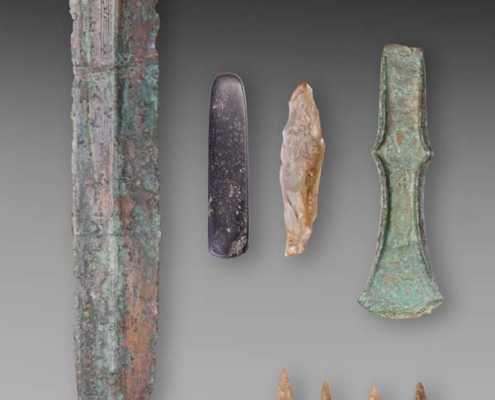Objects found in a 'rich' grave, Drouwen, The Netherlands. Length of the bronze sword is 35 cm. Bronze Age (17th century BC). Collection Drents Museum, Assen. Photo J.R.Beuker.
