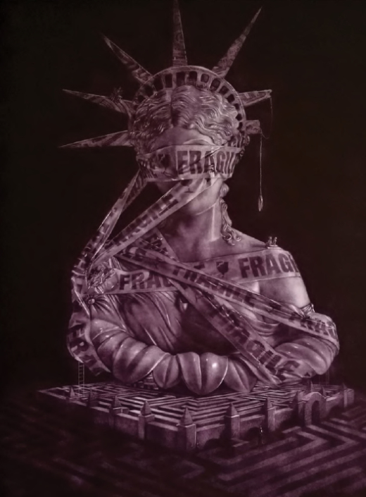 Wal Chirachaisakul - Labyrinth of Liberty (2018), 80x60 cm. Mezzotint on paper.